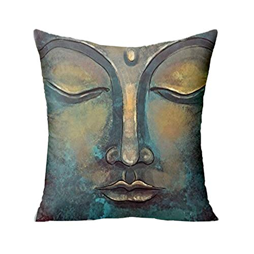 FJPT Throw Pillow Cover Rusty Golden Copper Buddha Face Watercolor Painting Creative Decorations for Sofa Bed Cotton Square Stand Size Pillowcase (18, 26x26 Inch)