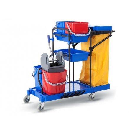 Carro de limpieza multifunción completo CLIMPRO. Carro de limpieza profesional COMPLETO con doble cubo con prensa, cubos auxiliares, lona extragrande, tapadera, ruedas y robusta estructura de acero