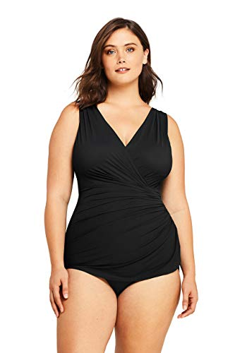 Lands' End Womens Slender Surplice Tunic One Piece Swimsuit Black Plus 16w