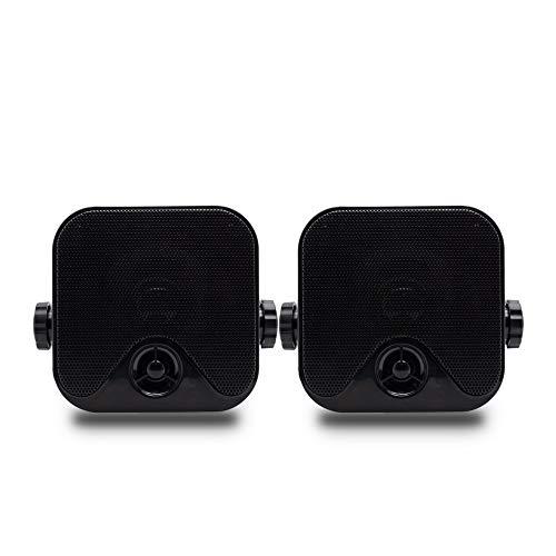 ZJHNZS Altavoz Bluetooth 100W 4 Pulgadas Altavoces de Caja Marinos a Prueba de Agua Moto Coche Altavoz Exterior Resistente para Barco ATV UTV RZR Carros de Golf Camión Jeep, Negro
