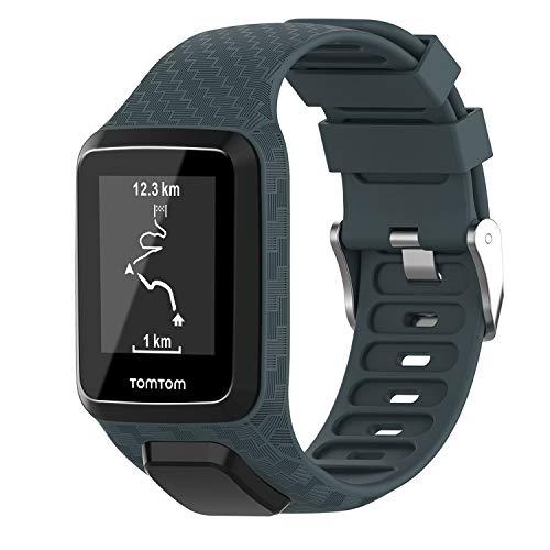 Keweni Cinturino Compatibile per TomTom 3 Watch, Silicone Morbido di Ricambio Cinturino Sportivo Band per Tomtom Adventurer Golfer 2 / Runner 2/3 Spark/Spark 3 Sport (Ciano rock)