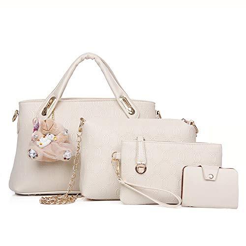 Conjunto de bolsa de cuero de PU de 4 piezas con asa superior para mujer (bolsa grande, bolso, bandolera, tarjetero), Beige