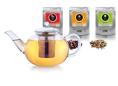 Creano Glas-Teekanne 3-Teiliger Teebereiter mit Edelstahlsieb, Glas-Deckel, 3X 60g Früchte-Kräuter-Tee (Erbeer-Minze, Exotische Früchte, Sanfte Limette) (1,6 L)