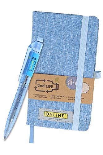 2nd Life Notizbuch DIN A6 mit Kugelschreiber von Online, aus recyceltem PET für eine saubere Umwelt, Druckkugelschreiber mit Großraummine nachfüllbar, Bullet Journal mit umweltfreundlichem FSC-Papier