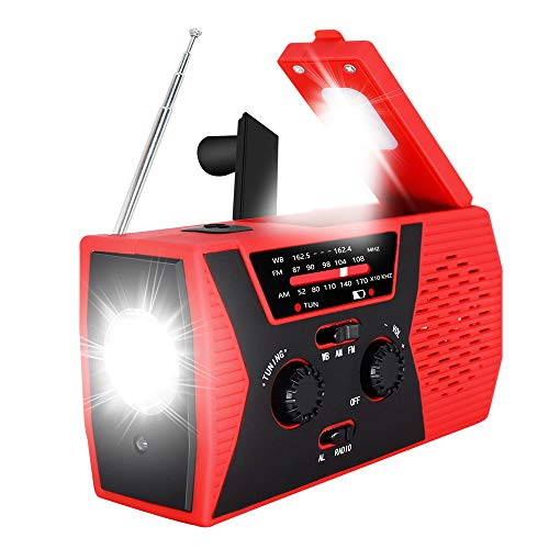 2020 Upgraded Emergency Solar Hand Crank Radio, RegeMoudal Hand Crank AM/FM/NOAA Weather Radio with Flashlight, Reading Lamp, 2000mAh Power Bank,USB Cell Phone Charger and SOS Alarm