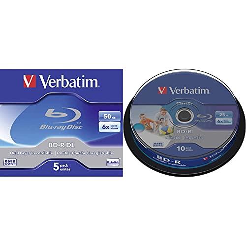Verbatim 43748 Blu-Ray Registrabile (BD-R), Confezione da 5 & DataLife BD-R Confezione da 10 Blu Ray Vergine 25GB stampabile