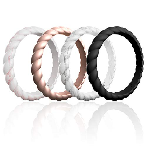 ROQ Silicone Wedding Ring for Women, Affordable Braided Stackable Silicone Rubber Wedding Bands, 4 Pack - Medical Grade Silicone - Marble, Black, Rose Gold Colors - Size 5