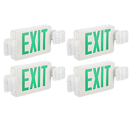 SPECTSUN 4 PACK Green Exit Sign with Emergency Light-Emergency Exit Lights with Battery Backup - 4 Pack, Illuminated Exit Sign/Emergency Light Combo/Emergency Light Fixture/Exit Emergency Light Combo