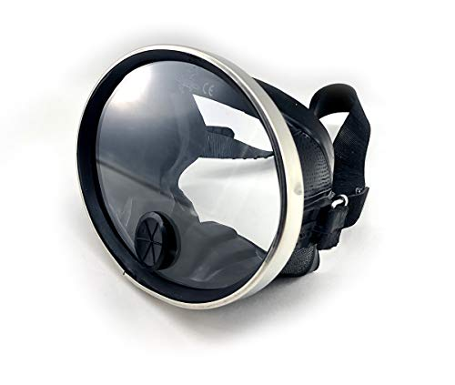 Spearfishing World Classic Retro Round Glass Rubber Dive Mask with Purge Valve - Ideal for Scuba and Underwater Photography