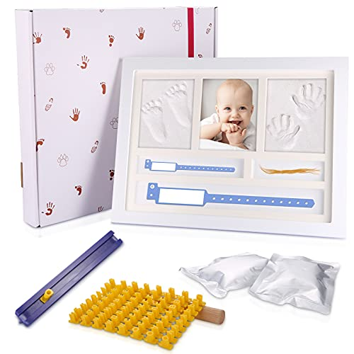 mreechan Marco Fotos para Recién Nacido,Kit de recuerdo de huella de huella de bebé,Marco para Huella de Pie y Manos del Bebe,marco huellas bebe,huellas bebe tinta Regalos para Bebé Recién Nacido.