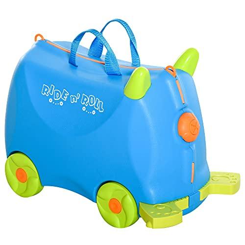 homcom Valigia Cavalcabile Bimbi, Trolley per Bambini 3-6 Anni, Bagaglio a Mano per Aereo, Azzurro, 46x22x33.5cm