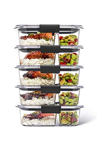 Rubbermaid Brilliance - Contenedores de almacenamiento de alimentos, 2 compartimentos, 2,85 tazas, 5 unidades