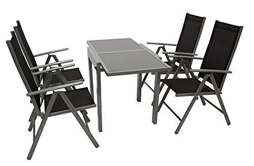 DEGAMO Balkongarnitur Amalfi 5-teilig, 4X Klappsessel aus Aluminium Silbergrau und Textilgewebe schwarz, 1x Ausziehtisch 65/130x65cm grau + Glasplatte dunkelgrau