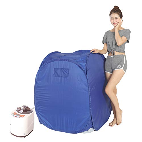 Smartmak Portable Steam at Home Sauna, Upgrade 2L Steamer, Lightweight Tent, One Person Full Body Spa for Weight Loss Detox Therapy (US Plug) -Blue