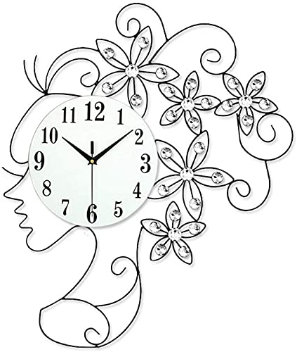 AWCVB Reloj De Pared para Sala De Estar, Estilo Europeo Mujer Cabeza De Pared Reloj De Hierro Arte Diamante Decoración Reloj Sala De Estar Reloj
