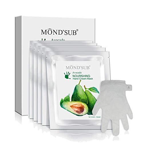 5 pares Máscaras aguacate hidratante de la mano | Guantes hidratantes para la mano seca y piel seca | Nutritiva y calmante y que blanquea | Mejor piel naturales del cuidado completa Aceite Natural Con