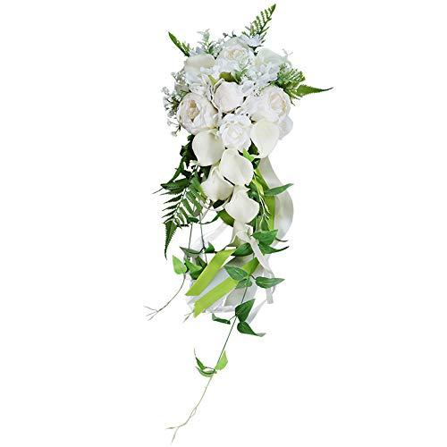 HJSM Hochzeit Brautstrauß Künstliche Blumen, Bunte Künstliche Calla-Lilie, Dekoration Für Zuhause, Garten, Party, Hochzeit, Elfenbeinweiß