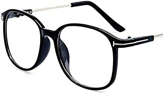 Simple Style Oversized Black Frame Eyeglasses Retro Flat EyeWear for Unisex