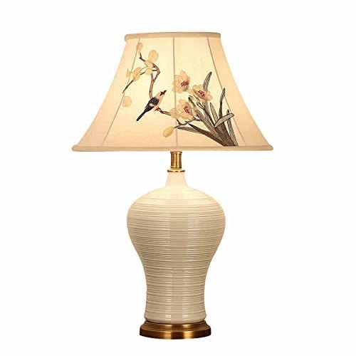 HZS Lámpara de Sala de Estar de cerámica Simple lámpara de cabecera de Dormitorio Europeo Estudio de Cobre Moderna lámpara Minimalista (Color : A)
