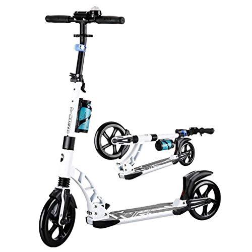 ZHZHUANG Scooter Portátil para Niños Y Adultos Principiante Plegable, Altura Ajustable con Ruedas de Pu S, Scooters de Patadas Freestyle Comuter Adulto Classic Scooter,Blanco