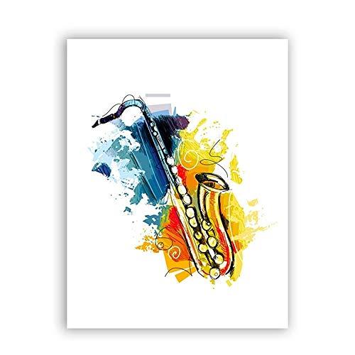 CNHNWJ abstracte muziekinstrumenten saxofoon wand kunstdruk poster, aquarel canvas Jazz schilderij afbeelding saxofoon decoratie (40x60cmx1 / geen lijst)