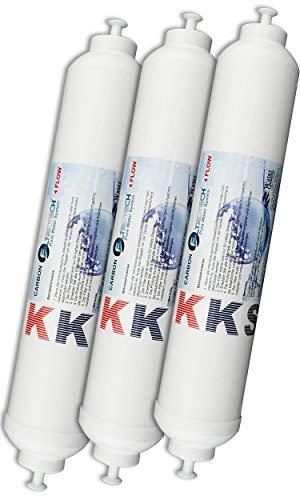 KKS-3er Pack Wasserfilter für Side by Side Kühlschrank Samsung LG AEG Haier usw Externer Kühlschrankfilter mit integriertem 1/4
