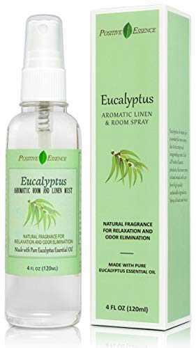 Positive Essence Eucalyptus Linen and Room Spray, Pure Eucalyptus Essential Oil Fabric Spray, Refreshing Daily Shower Spray or Home Fragrance