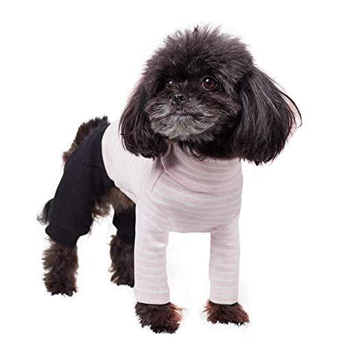 XPC-Haustierkleidung Haustier Hund Pyjamas Weich Gestreiftes Baumwollhemd Overall Niedliche Hundekatze Coole Kleidung Kleidung Für Play Schlaf (Color : Pink, Size : LX)