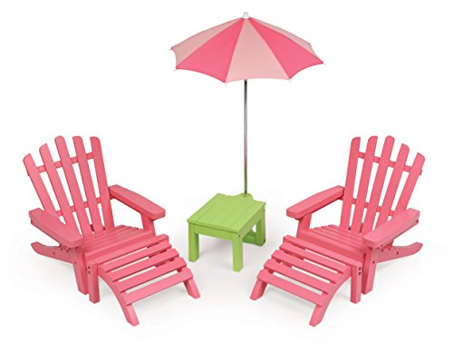 Badger Basket 6 Piece Patio Furniture Play Set for 18 Inch (fits American Girl Dolls) Chair, Pink/Green