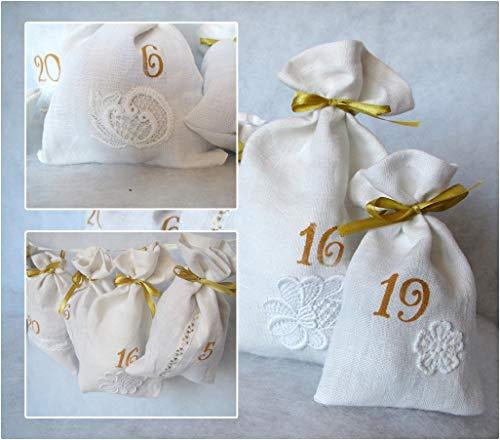 Adventskalender aus Leinen, mit Borten und alte Spitze, weiß, gold,Geschenk für Frau 24 Säckchen