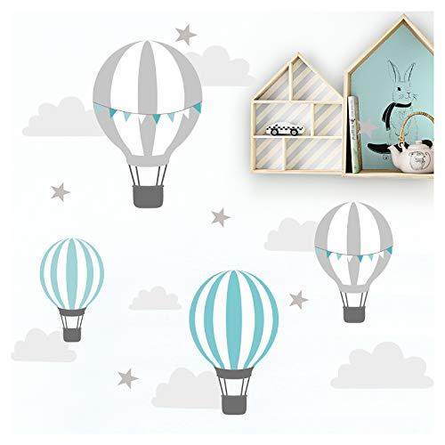 Little Deco DL522 - Adhesivo decorativo para pared de habitación infantil, diseño de globo, nubes, estrellas, menta, gris, 55 x 28 cm (ancho x alto)