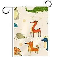 ガーデンヤードフラッグ両面 /12x18in/ ポリエステルウェルカムハウス旗バナー,漫画の動物