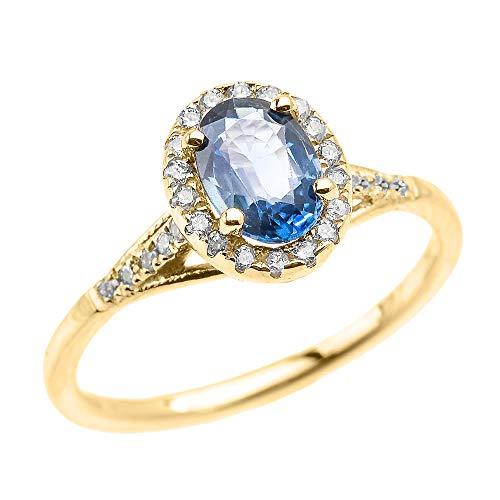 Yellow 9 ct Gold Halo Solitaire Kanchanaburi Sapphire and Diamond Proposal Ring BII