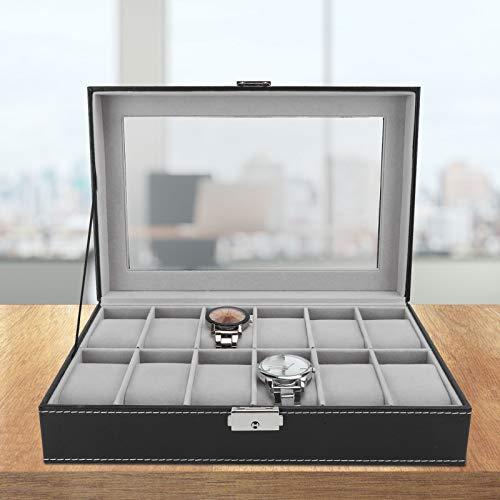 Caja de reloj 12 cuadrícula negra exquisita en forma para la decoración del hogar