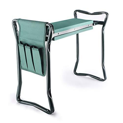 Garden Kneeler and Seat with Tool Pouch 2 in 1 Foldable Garden Bench with Soft EVA Foam Kneeling Pad Portable Kneeler Seat for Gardening Outdoor Garden Stool