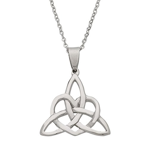 High Polished Stainless Steel Triangle Celtic Knot Necklace, Celtic Jewelry for Women