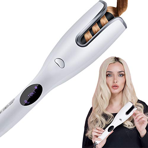 Automatic Hair Curler, Curling Iron Wand with LCD Temp Display Adjustable Temperature Hair Crimper, Anti-Scald Hair Wand Dual Voltage Auto Rotating Ceramic Hair Waver for Long Short Hair
