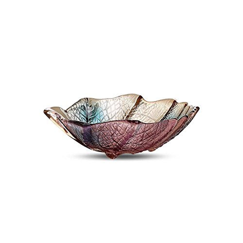Dongyd Milieuglas Klein Bladtype Fruitplaat, Gedroogde Fruitplaat Glaskleurige Snacks Saladekom, Koude Drank Bowl Gesneden Fruitplaat