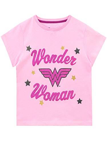DC Comics Camiseta de Manga Corta para niñas Wonder Woman Rosa 7-8 Años