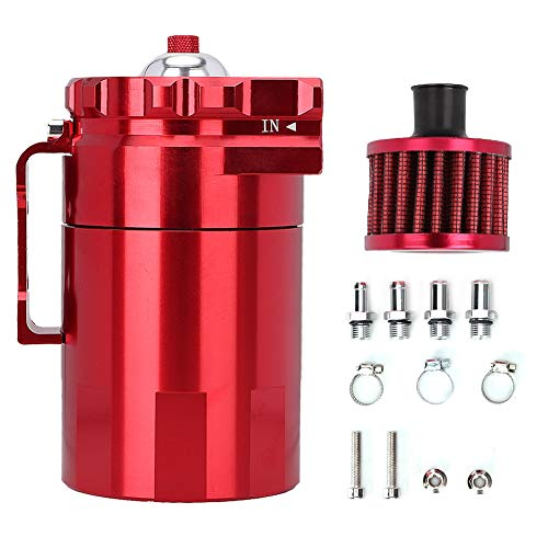 Qii lu Oil Catch Can, Polaco para automóvil, deflector universal de aluminio Motor Oil Catch Breather Can Depósito Tanque Rojo