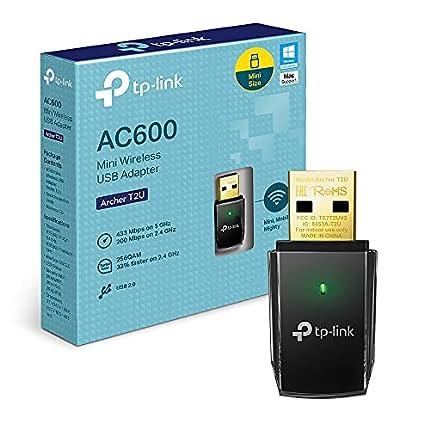 TP-Link Archer T2U - Adaptador WiFi USB AC600 Mbps, Receptor WiFi para PC, Doble Banda 2.4GHz/5GHz, Mini Tamaño, USB 2.0, Seguridad avanzada