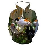 Primavera y Otoño Hombres Impresión 3D Océano Acuario Sudadera Con Capucha Moda Lindo Fish Pullover, 62152, XXXL