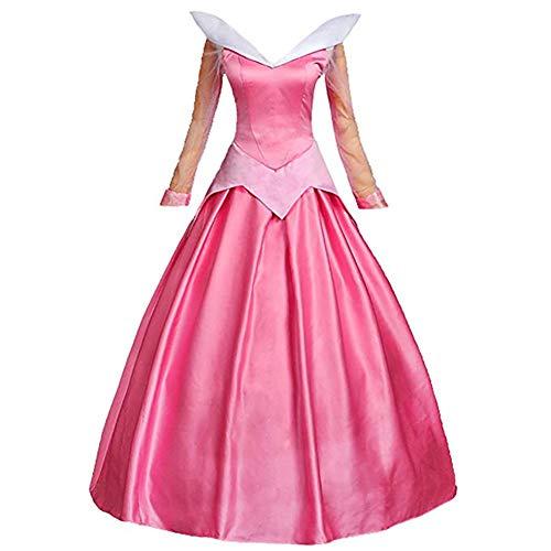 Aurora Cosplay Kostum, Anime Vintage Lolita Damen Pink Lange Ärmel Prinzessin Kleider mit Umhang für Festliche Spielzeug Weihnachten Spezielle Anlässe Ballkleider Kleid,A,M