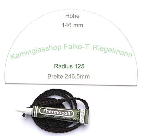 Glasmanufaktur u. Bauelementevertrieb Riegelmann Kaminglas Sichtscheibe 5 mm passend für Bullerjan 00/01 mit Dichtungsset 1
