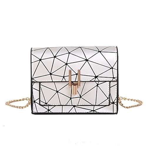 A-hyt Cómoda y cómoda bolsa de hombro para mujer, versión de la bolsa de mensajero, cadena de impresión de puntos cruzados sin justificación, fácil caminata (color: plata, tamaño: 17 cm, 7 cm, 3 cm)