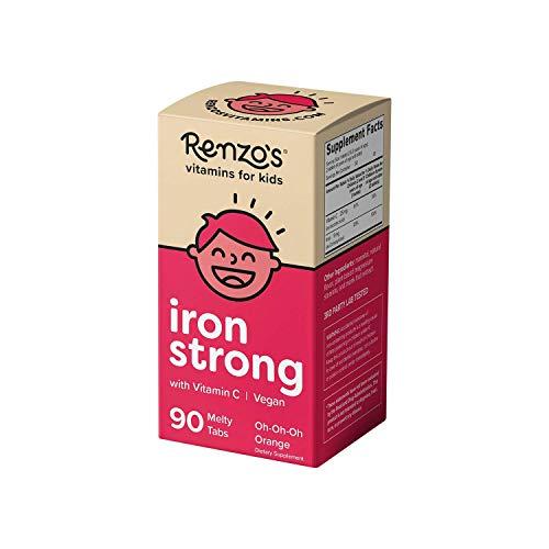 Renzo's Iron Supplements for Kids, Dissolvable Vegan Iron Supplement for Children, Sugar Free Iron Supplements for Anemia, Oh-Oh-Oh Orange Flavor, 90 Melty Tabs