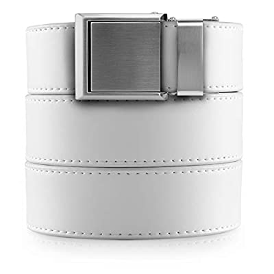 SlideBelts Boys Ratchet Belt - Size 8-20 (White with Square Silver)