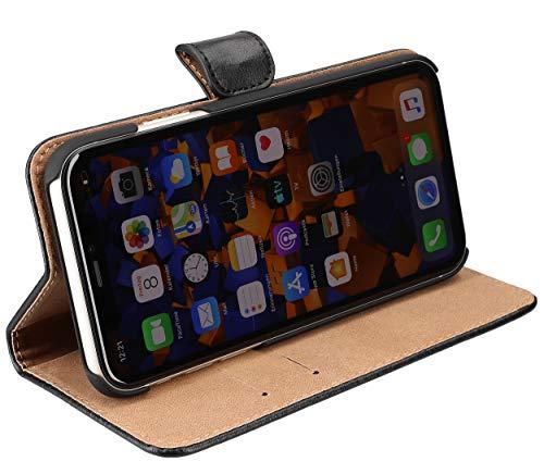 mumbi Echt Leder Bookstyle Hülle kompatibel mit iPhone 11 Hülle Leder Tasche Hülle Wallet, schwarz