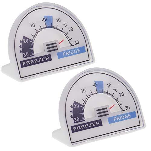 Paquete de 2 termómetros para frigorífico y congelador con zonas de temperatura recomendadas