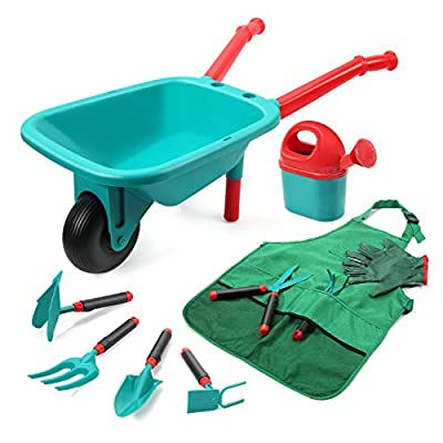 CUTE STONE Kids Gardening Tool Set,Garden Toys with Wheelbarrow,Watering Can,Gardening Gloves,Hand Rake,Shovel,Trowel,Double Hoe,Apron with Pockets,Outdoor Indoor Toys Gift for Kids Toddler Boys Girls